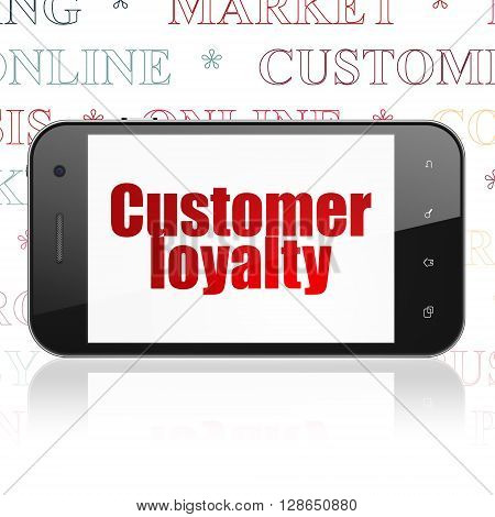 Advertising concept: Smartphone with  red text Customer Loyalty on display,  Tag Cloud background, 3D rendering