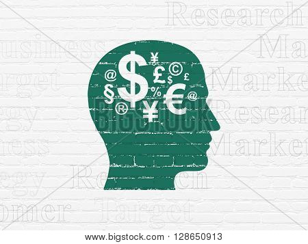 Marketing concept: Painted green Head With Finance Symbol icon on White Brick wall background with  Tag Cloud