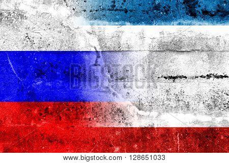 Autonomous Republic Of Crimea And Russia Flag Painted On Grunge Wall