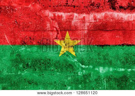 Burkina Faso Flag Painted On Grunge Wall