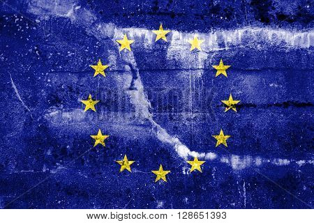 European Union Flag painted on grunge wall. Vintage and old look.