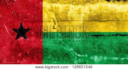 Guinea Bissau Flag painted on grunge wall