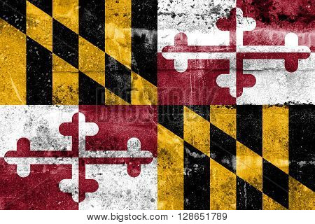 Maryland State Flag Painted On Grunge Wall