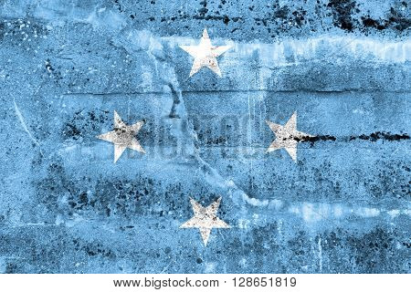 Micronesia Flag painted on grunge wall. Vintage and old look