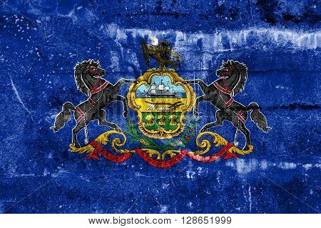 Pennsylvania State Flag Painted On Grunge Wall