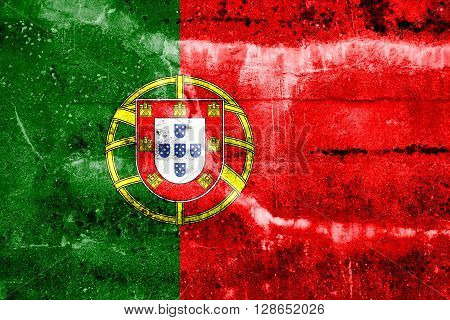 Portugal Flag painted on grunge wall. Vintage and old look