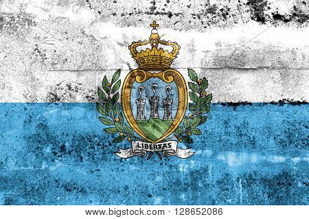 San Marino Flag Painted On Grunge Wall