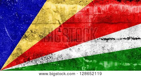 Seychelles Flag painted on grunge wall. Vintage and old look