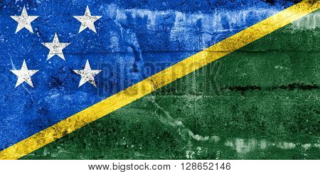 Solomon Islands Flag Painted On Grunge Wall