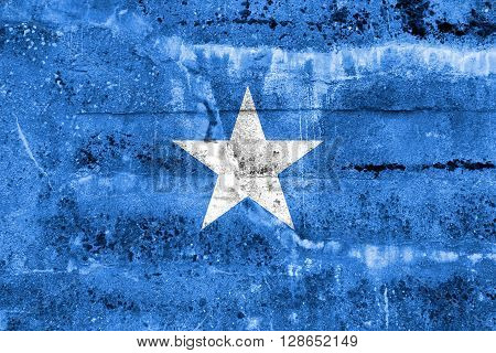 Somalia Flag painted on grunge wall. Vintage and old look