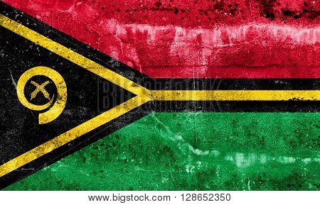 Vanuatu Flag painted on grunge wall. Vintage and old look
