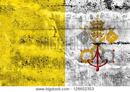 Vatican City Flag, painted on old, dirty wall