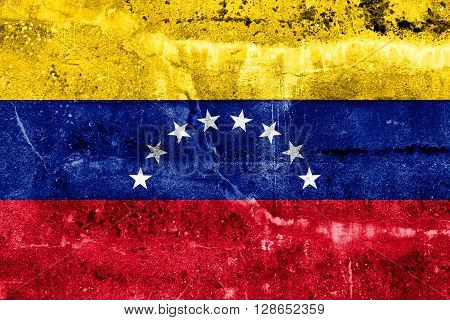 Venezuela Flag painted on grunge wall. Vintage and old look