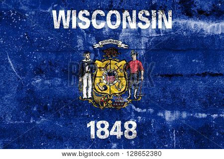 Wisconsin State Flag, painted on grunge wall