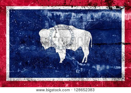 Wyoming State Flag painted on grunge wall.