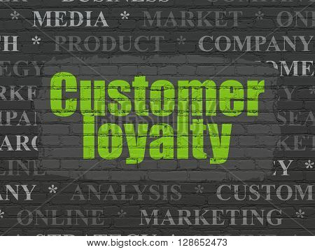 Marketing concept: Painted green text Customer Loyalty on Black Brick wall background with  Tag Cloud