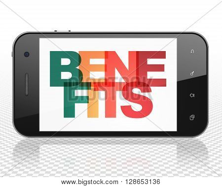 Business concept: Smartphone with Painted multicolor text Benefits on display, 3D rendering