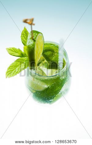 Mojito cocktail with fresh lime