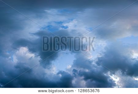 Background of dark and dramatic  clouds before a thunder-storm