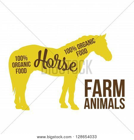 yellow contour horse farm animal with a white lettering  inscription inside, Logo horse vector animal, outline for product, vector illustration contour farming horse with lettering on the mutton meat