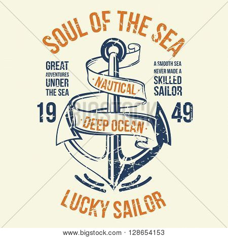 Anchor Sailor Tee Design. Easy to manipulate, re-size or colorize.