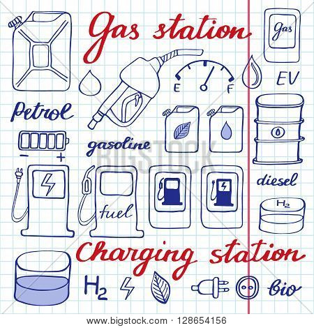 Gas station set. Hand-drawn cartoon collection of petrol icons - fuel, can, road sign, pump. Doodle pen drawing on the notebook page. Vector illustration