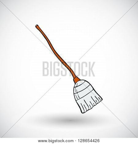 Witches broom sketch. Hand-drawn magic icon with round shadow. Doodle drawing. Vector illustration