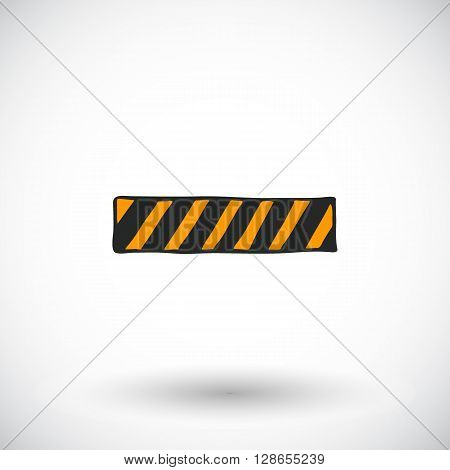 Caution tape, barrier or safety fence sketch. Hand-drawn cartoon construction icon. Doodle drawing. Vector illustration.