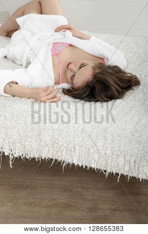 Girl Lies In Bed Just Woke Up.