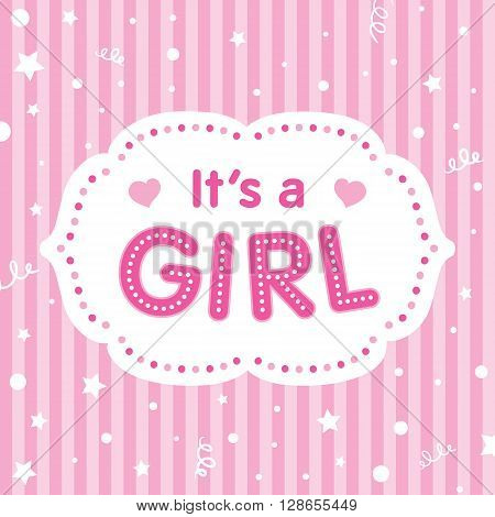 It's a girl. Vector congratulation card. Baby shower card. Cute illustration for baby girl.