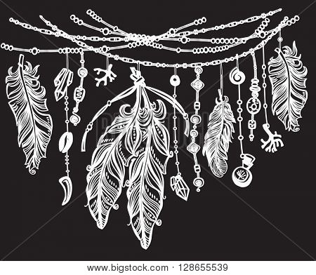 Feathers and ribbons in tribal style on black