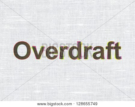 Business concept: CMYK Overdraft on linen fabric texture background