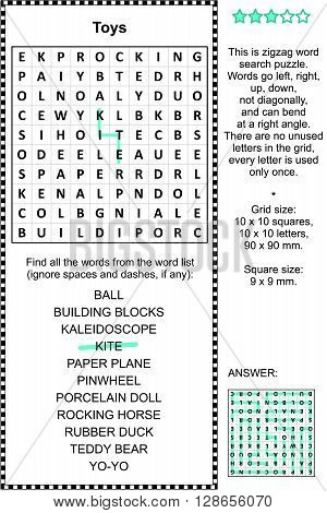 Toys and games themed zigzag word search puzzle (suitable both for kids and adults). Answer included.