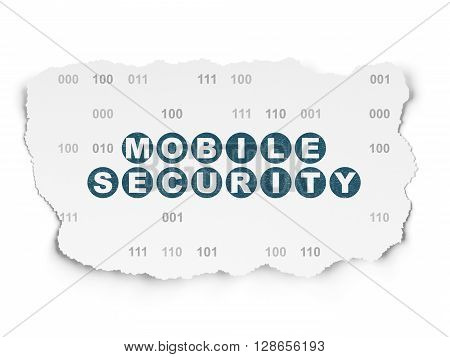 Protection concept: Painted blue text Mobile Security on Torn Paper background with  Binary Code