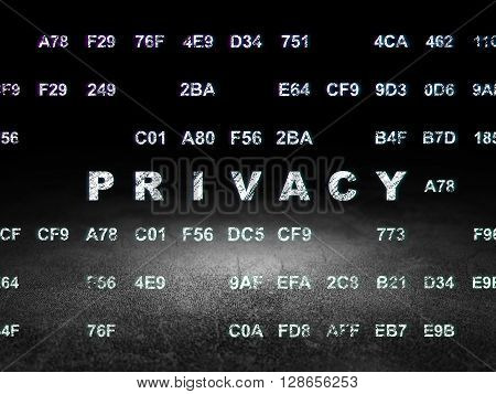 Protection concept: Glowing text Privacy in grunge dark room with Dirty Floor, black background with Hexadecimal Code