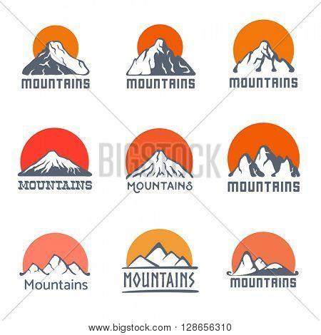 Mountains logo set, vector icon illustration