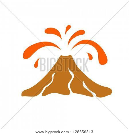 Volcano eruption logo, vector illustration on white background