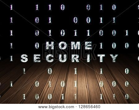 Safety concept: Glowing text Home Security in grunge dark room with Wooden Floor, black background with Binary Code
