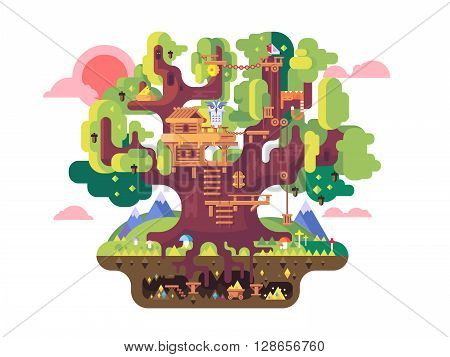 fairy tree house. Childhood building, nature home design, fantasy architecture, flat vector illustration