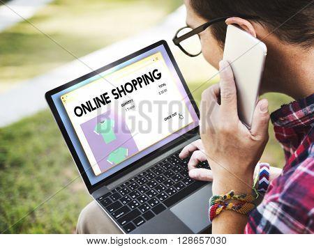 Online Shopping Buying Cart Internet Retail Digital Concept