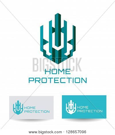 Business Icon - Home protection. Vector logo design template. Logo concept for Home security, building home architecture