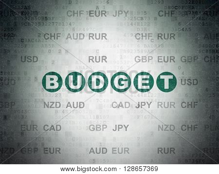 Money concept: Painted green text Budget on Digital Data Paper background with Currency