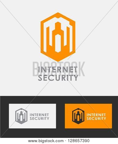 Business Icon - Vector logo design template. Abstract emblem for Internet protection and security
