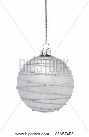 Silver Hanging Bauble isolated on a white background