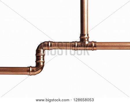 Copper pipe on white with connector isolated on a white background