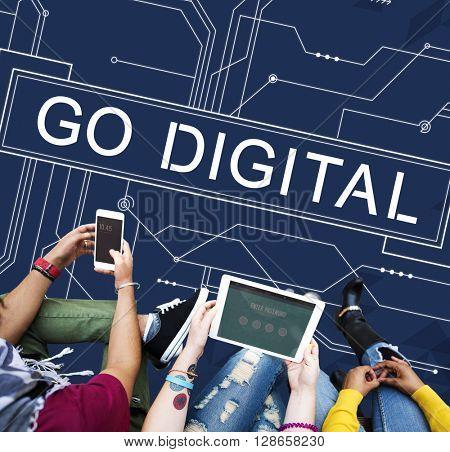 Go Digital Futuristic Circuit Board Technology Concept