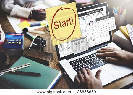 Start Ready Beginning First Launch Concept