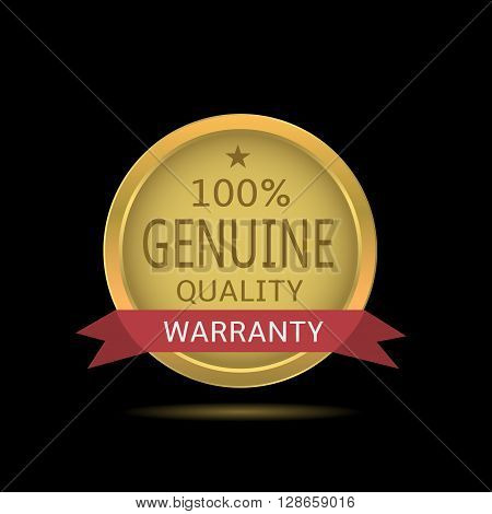Genuine quality label with red warranty ribbon