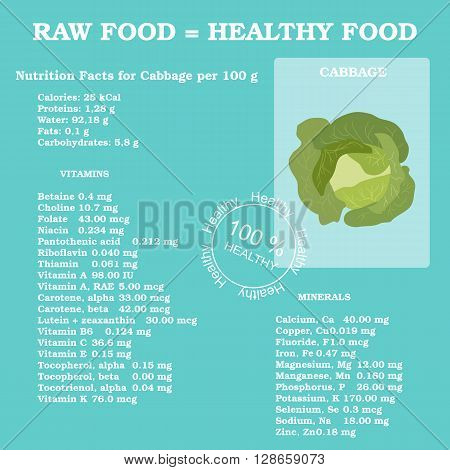 Nutrition facts for cabbage in flat style