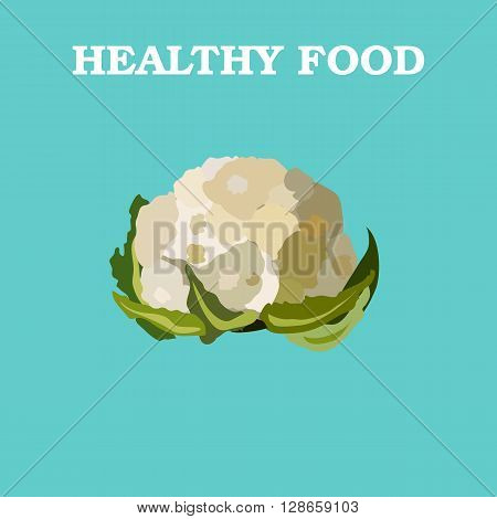 Cauliflower icon. Flat style vector illustration. Vegetarian food. Healthy lifestyle. Raw food diet